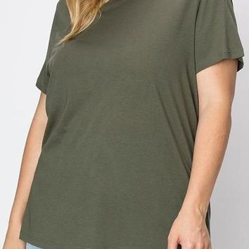 Sam Curve Cotton Modal Tee in Olive