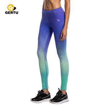 5 color  Gradient printed women sportes leggings butt lift fitness leggings  Dry easy absorb sweat leggings