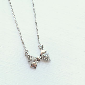Bow Necklace - Silver
