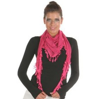 Amazon.com: Angelina Light Triangle Fashion Scarf with 2-inch, Leaf-shape Tassel, Creamy Pink: Clothing