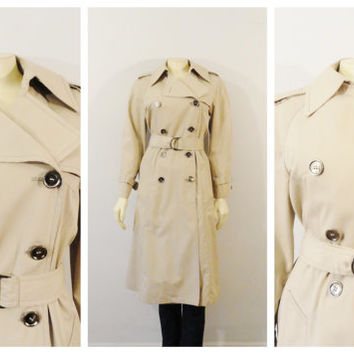 Vintage Coat 70s London Fog Maincoat Khaki Trench Coat Belted Pewter Gunmetal Buttons size 6 Modern Small to Medium