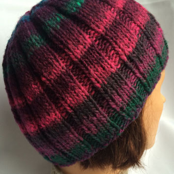 Knit Wool Beanie Purple Knit Beanie Hand Knit Hat Striped Wool Beanie Striped Wool Hat Hand Knit Beanie Purple Knitted Hat