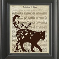 A Cat with fall leaves   - Printed on Music page  -  250Gram paper.