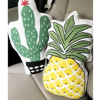 Soft Cushion with Cactus or Pineapple Pattern Decorative Pillows Throw Pillow Birthday Gift for Children, Girlfriend