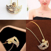 Girl Crystal Masquerade Earring Ring Necklace Fox Mask Beauty Party Set 3C#