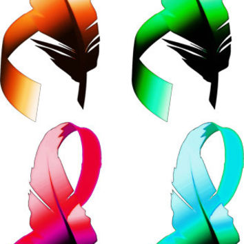 feather ribbons clipart png clip art Digital image download graphics image art printables 4 colors