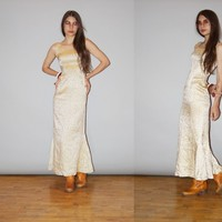 1960s Vintage Champagne Gold Brocade Metallic Long Evening Gown Cockta – Vanguard Vintage Clothing