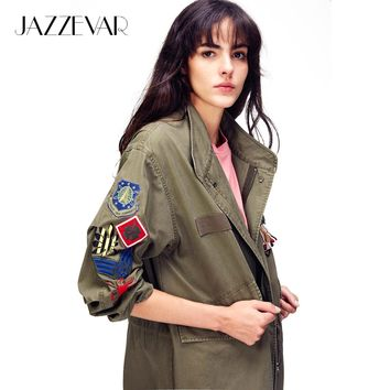 Trendy JAZZEVAR Autumn Fashion Women's Embroidery Rivet Casual Long jacket Army Green Appliques Outerwear Vintage Washed Loose Clothing AT_94_13