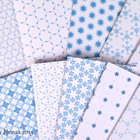 Unique christmas cards blue and white snowflake, geometrical patterned handmade cards with envelopes, blank cards, geometric cards
