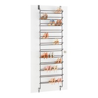 Gunmetal 36-Pair Over the Door Shoe Rack