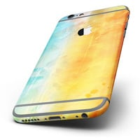 The Lined Orange 443 Absorbed Watercolor Texture Six-Piece Skin Kit for the iPhone 6/6s or 6/6s Plus
