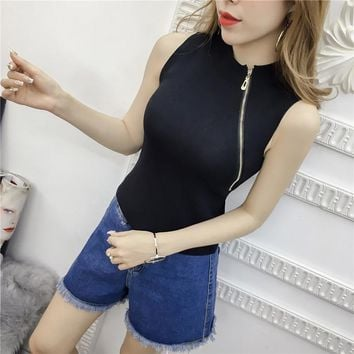 Summer Women Fashion Slim Knitting Tank Tops Female Bodycon Camisole Sleeveless Tee shirts 8332