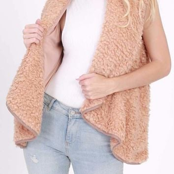 Down In The Country Shearling Vest, Apricot
