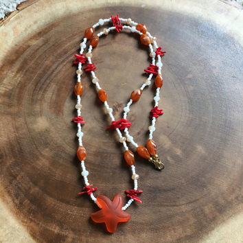 Orange Necklace, Starfish Necklace, Beach Necklace, Red Necklace, White Necklace, 30 Inch Necklace, Summer Necklace, Womens Necklace