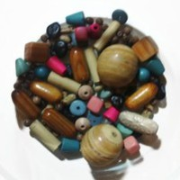 Bead Soup Vintage Wooden Bead Lot & 1 Ceramic Pretty Bead