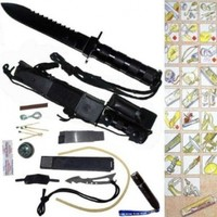 """H-006. 11"""" Jungle King Hunting Dagger - Ultimate Survival- w/ Accessories knife stainless steel blade sharp edge camping hunt weapon hidden neatly inside the shealth or knife handle bottle opener compass PanthTD"""