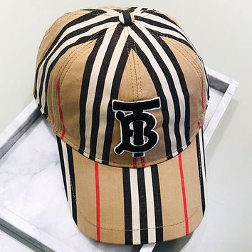 Burberry New fashion embroidery letter stripe cap hat Khaki