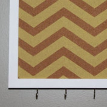Memo board and key rack with hooks, yellow chevron pattern design with white frame