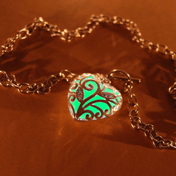 Glow in the Dark Jewelry - Aqua Glowing Necklace - Pendant - Gifts for Her - Birthday Gift - Heart
