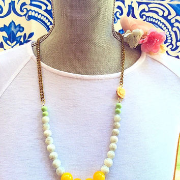 long beaded necklace,Pastel jewelry,Jade beaded necklace,yellow and white necklace,Boho necklace, necklace with flower, color block necklace