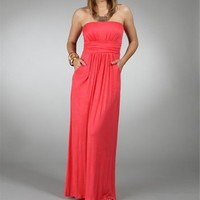 Coral Strapless Maxi Dresses