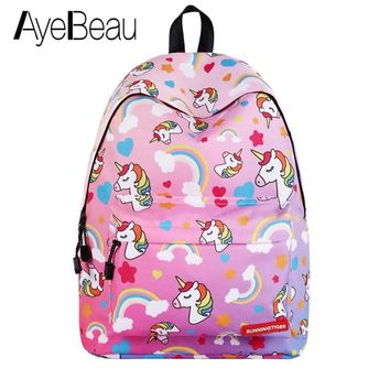Cute Portfolio School Bag Children Anime Backpack With Unicorn Kids Female Women For Girls Teenagers Schoolbag Bagpack Back Pack