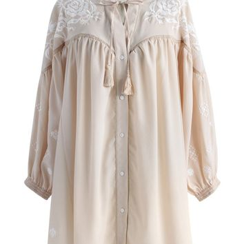 Tranquil Floral Embroidered Tunic in Beige