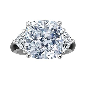 10 CT. (12x12mm Center) Radiant Square Cushion Classic w/Zirconite triangular sides (1 CT. TW.) Sterling Silver Ring with triangular sides Simulated Diamond - Diamond Veneer 635R71199