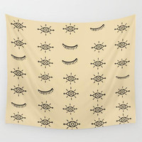 Wall Tapestry Tribal Eyes  Boho Bohemian Black Light Beige Cream Dorm Room Home Wall Apartment Decor