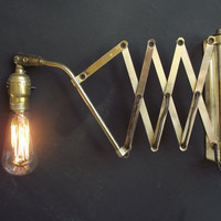 Vintage Brass Accordion Scissor Wall Lamp - Industrial Steampunk
