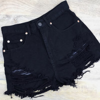 Distressed Denim High Waisted Shorts - Black