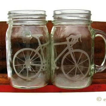 Bicycle mason jar mug with handle (Two)