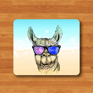 Llama Drawing Hipster Animal Mouse Pad Galalxy Eye Glasses Cool MousePad Computer Desk Deco Work Pad Mat Computer Personalized Boss Gift