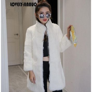 New Free Shipping real rabbit fur coat women rabbit fur jacket long full pelt rabbit fur overcoat winter outerwear big size F893