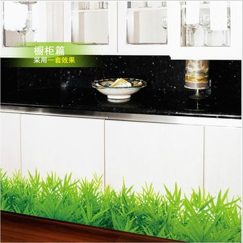 fresh color green grass plant waist line paint wall sticker home decor skirting line for bathroom kitchen living room window art