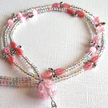 Beaded Lanyard: Pink Lampwork, German Pink Glass Leaves, Silver Bows