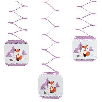 Baby Shower Hanging Decorations - Miss Foxy Fox - 6 ct