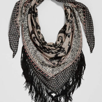 paisley print triangle scarf with patterned borders and fringe | maurices