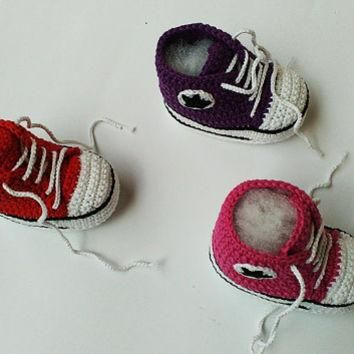 Crochet baby sneakers, Crochet baby girl shoes, Crochet Converse sneakers, Crochet boo