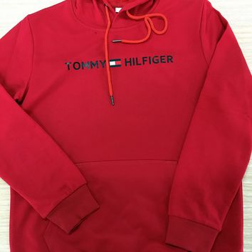 """Tommy Hilfiger"" Autumn Winter Popular Women Men Leisure Print Long Sleeve Hooded Sweater Pullover Top Sweatshirt Red"