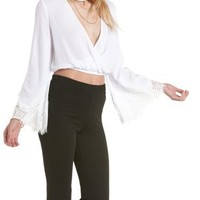 White Lace-Trim Bell Sleeve Wrap Crop Top by Charlotte Russe
