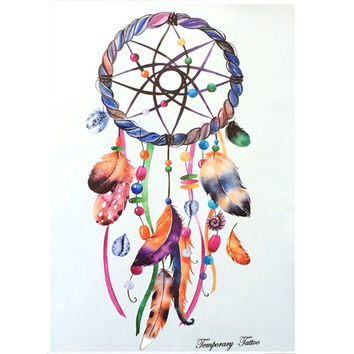 2016 NEW Fashion Waterproof Hot Temporary Tattoo Stickers 21 X 15 CM Color bar And Feather Dreamcatcher