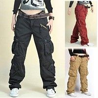 Khaki/Black fatigue cargo baggy pants women Hip hop pants dance sportwear loose plus size trousers for man & women