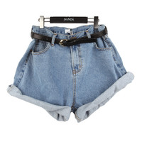Big-size Denim Shorts (w/Belt)