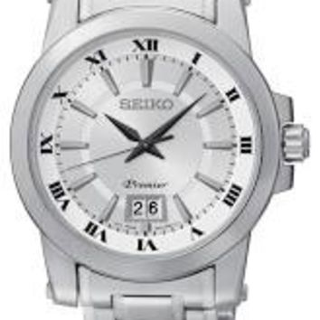 Seiko Premier Silver Dial Stainless Steel Mens Watch SUR013