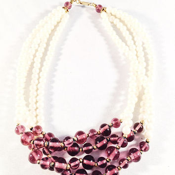 Vintage Choker/Necklace, Marked Duplaise, 4 Strand Pearls With Purple Beads, Vintage Jewelry