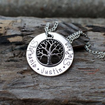 Tree of Life, Family Tree Necklace, Family Jewelry, Kids name on Jewelry, Grandmother Gift, Necklace for Mom, Gold Tree of Life