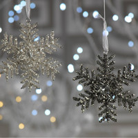 Beaded Snowflake Ornament with Flower - Set of 6