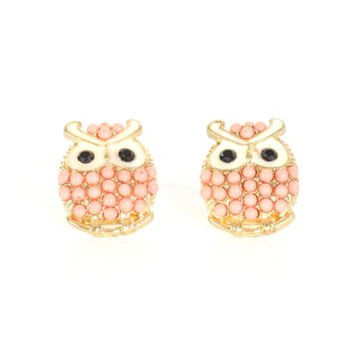 Owl Stud Earrings Crystal Vintage Gold Tone EF23 Pink Beaded Bird Pave Posts Fashion Jewelry