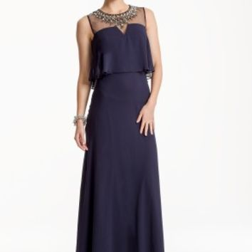 Beaded Illusion Popover Dress